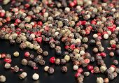 foto of peppercorns  - Red black green and white peppercorns mixed - JPG
