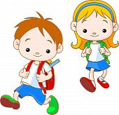 stock photo of school child  - Two cute kids going to School - JPG