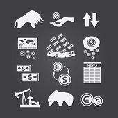 picture of trade  - Set of black and white business and finance stock exchange icons - JPG