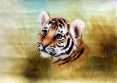 stock photo of airbrush  - A beautiful airbrush painting of an adorable baby tiger head looking out from a green grass surroundings - JPG