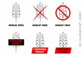 foto of wheat-free  - Vector Wheat Free Signs isolated on white background - JPG