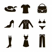 image of black pants  - clothes icon set woman black on white background trousers bag jacket shoes t - JPG