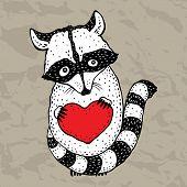 image of raccoon  - Raccoon carrying a heart - JPG