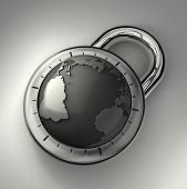 foto of combination lock  - A combination lock is locked with the Earth as its focus - JPG