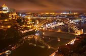 stock photo of dom  - View from Porto to Gaia over the famous Dom Luis I bridge - JPG
