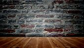 foto of brick block  - Concept or conceptual vintage or grungy brown background of natural wood or wooden old texture floor and brick wall as a retro pattern layout - JPG