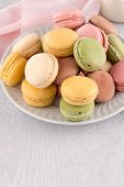 picture of french pastry  - Classic Macaroons with Raspberry Coffee Chocolate and Pistachios Filled with Cream French Pastry - JPG