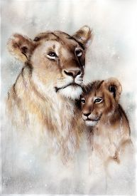 picture of airbrush  - A beautiful airbrush painting of a loving lion mother and her baby cub - JPG