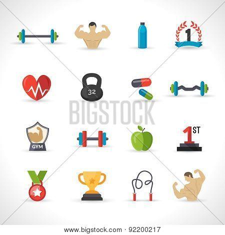 Bodybuilding Icons Set