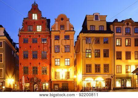 Stortorget square in Gamla stan at night, Stockholm