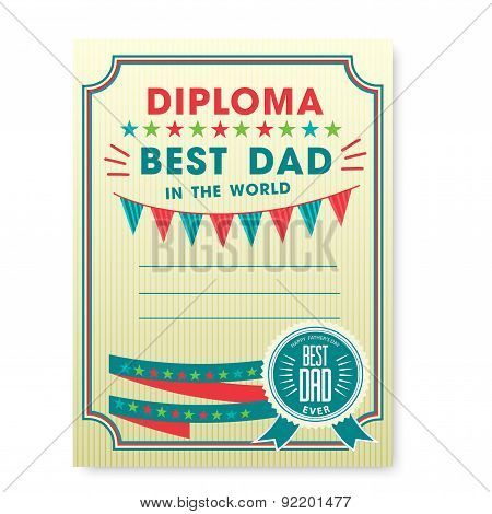 Happy fathers day card vintage retro.
