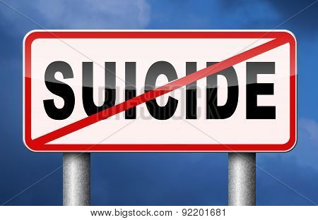 No Suicide sign