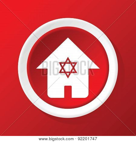 Jewish house icon on red