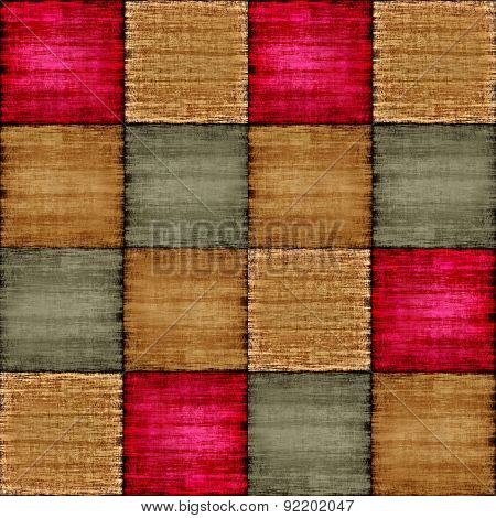 Multicolored Patch Texture Collage In A Chessboard Order.