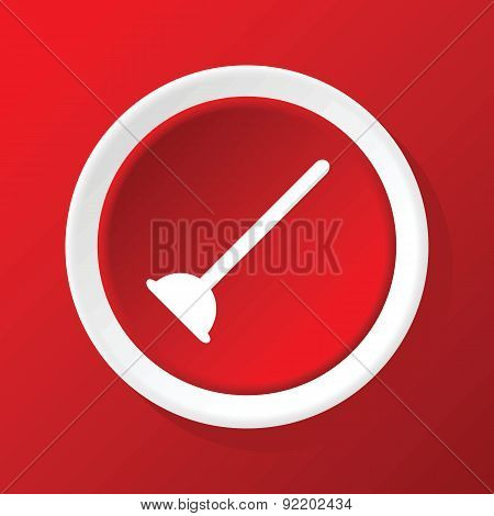 Plunger icon on red