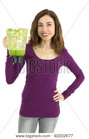 Healthy Lifestyle Woman Holding Green Smoothie Jar