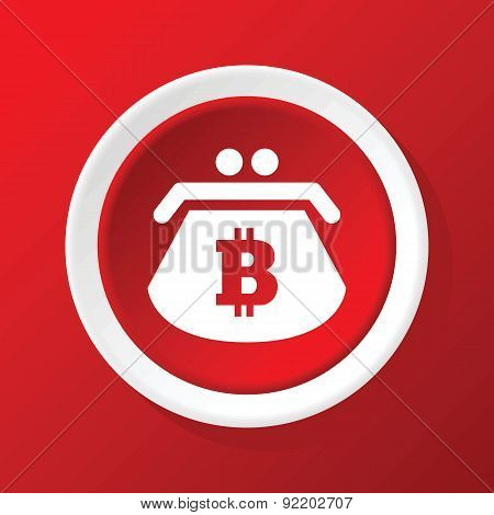 Bitcoin purse icon on red