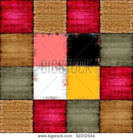 Color Patch Texture Collage In A Chessboard Order As Abstract Background.