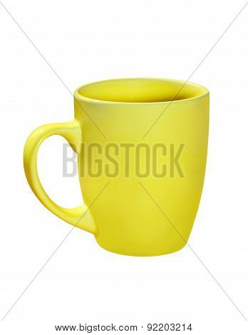 Yellow Ceramic Tea Cup. Isolated.