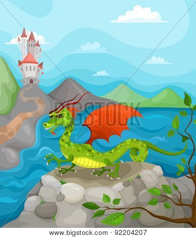 Dragon and Castle vector illustration