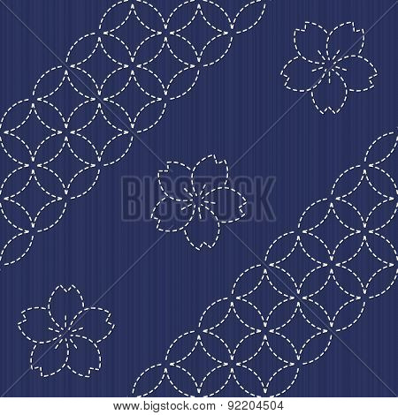 Sashiko seamless pattern. Seamless. Japanese Embroidery Ornament with circles and blooming sa