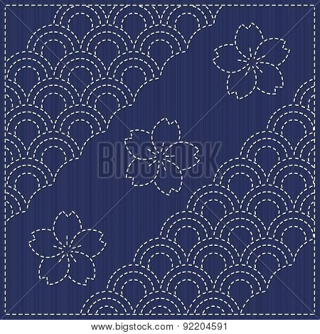 Traditional Japanese Embroidery Ornament with fish scales. Seamless pattern. Japanese sashiko