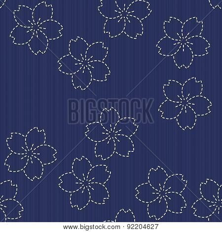 Sashiko motif - blooming cherry flowers. Floral backdrop. Needlework texture.