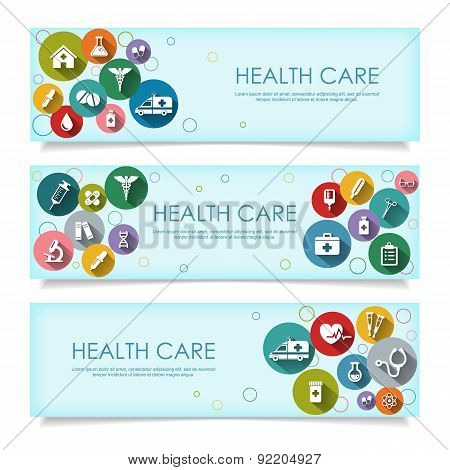 Set Of Horizontal  Banners With Vector Medical Icons In Flat Style