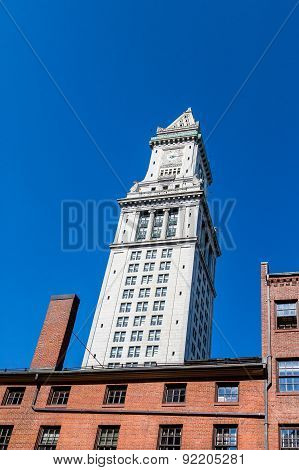 Clock Tower On Old Customs House On Blue
