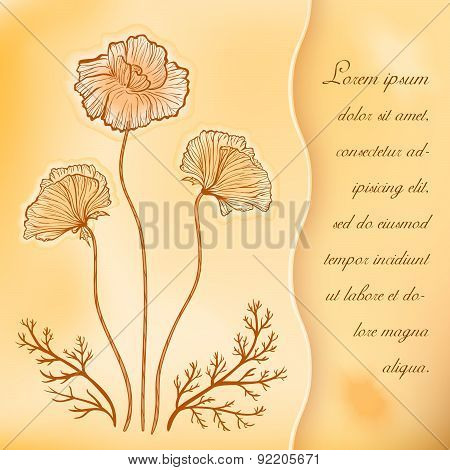 Poppies vintage vector greeting card