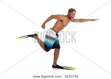 Young Attractive African American Man In Swimsuit, Happy