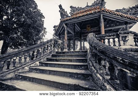 Ancient vietnamese temple with dragons on top