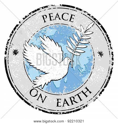 Bird Dove As Peace Symbol Stamp. International Peace Day Emblem Vector