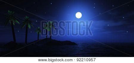 3D render of a moonlit palm tree island