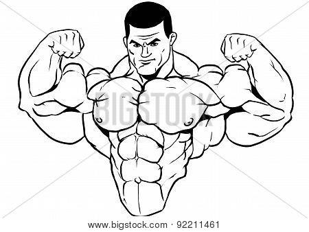 muscular torso of a bodybuilder