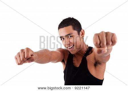 Portrait Of A Very Happy  Young Latin Man With His Arms Raised, On White Background. Studio Shot