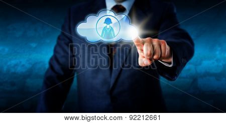 Manager Connecting With Female Peer Via The Cloud
