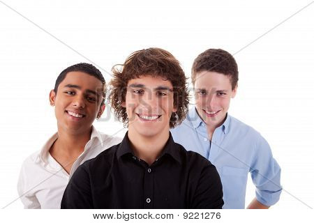 One Boy, With Two Friends On Back, Of Different Colors,looking To Camera And Smiling, Isolated On Wh