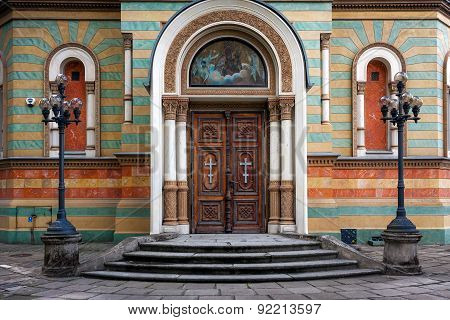Lodz Cathedral Entrance. Alexander Nevsky Church