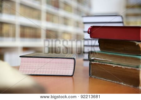 Books on desk