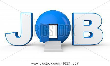 3D Job text with open door