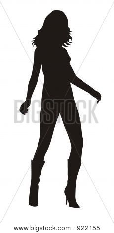 Silhouette Of Sexy Woman