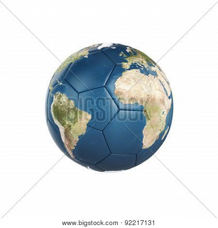 Globe Earth Texture On Soccer Ball Isolated On White Background