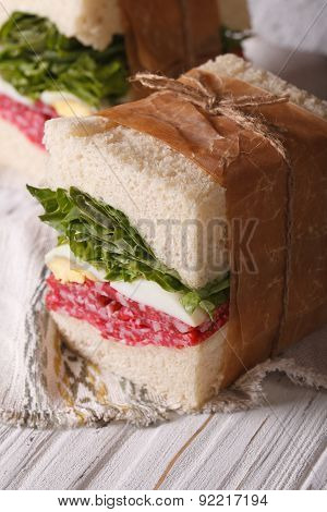 Homemade Sandwiches With Salami Wrapped In Paper Vertical Macro