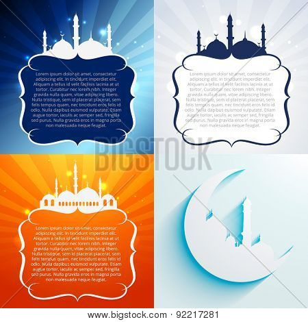 vector set of attractive background of ramadan kareem festival with space for your text