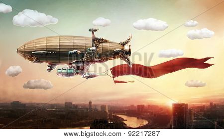 Concept art. Dirigible with a banner, in the sky over a city.