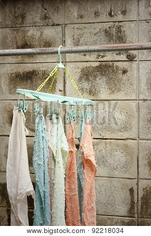 Cloth Hanger Dry Out Outside The House.