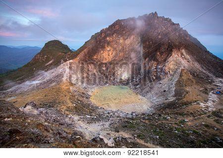 Sibayak volcano at sunrise, northern Sumatra, Indonesia