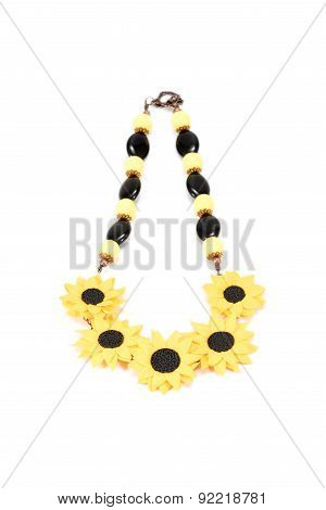 Beautiful Necklace Handmade With Sunflowers