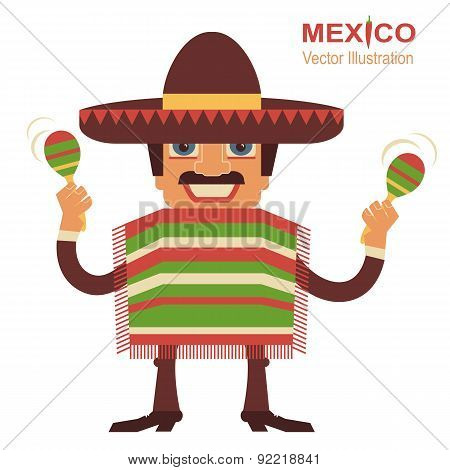 Mexican Man Singer With Maracas